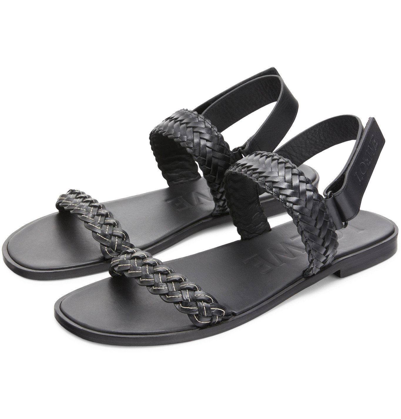 Photo: Loewe - Paula's Ibiza Braided Leather Sandals - Black