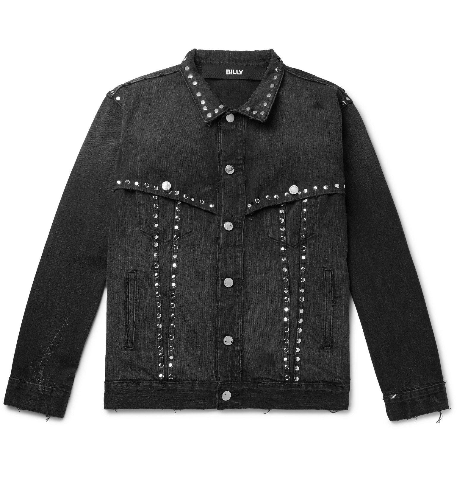 Photo: BILLY - Studded Distressed Denim Jacket - Black