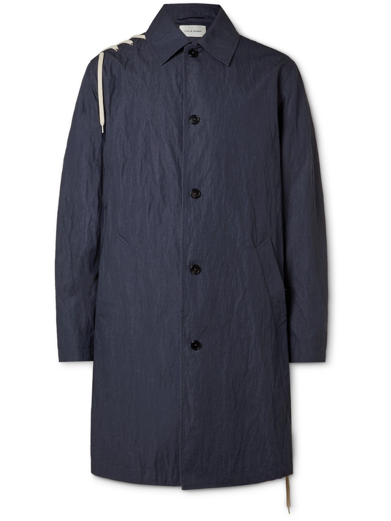 Photo: CRAIG GREEN - Lace-Detailed Crinkled Cotton-Blend Coat - Blue
