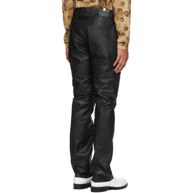 1017 ALYX 9SM Black Leather Ostrich Cage Pants