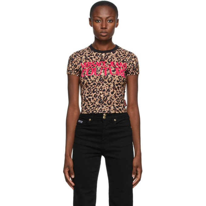 Photo: Versace Jeans Couture Beige and Black Leopard Crop T-Shirt