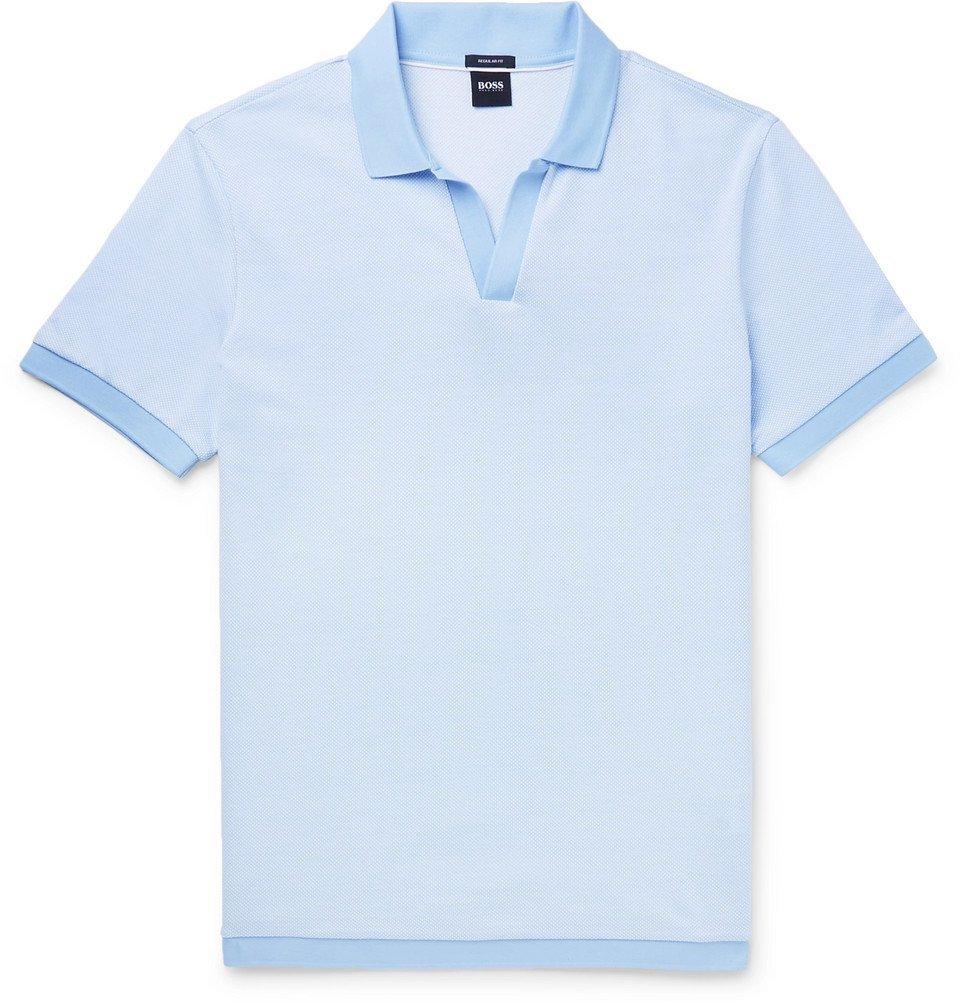 Photo: Hugo Boss - Slim-Fit Textured-Knit Cotton Polo Shirt - Blue