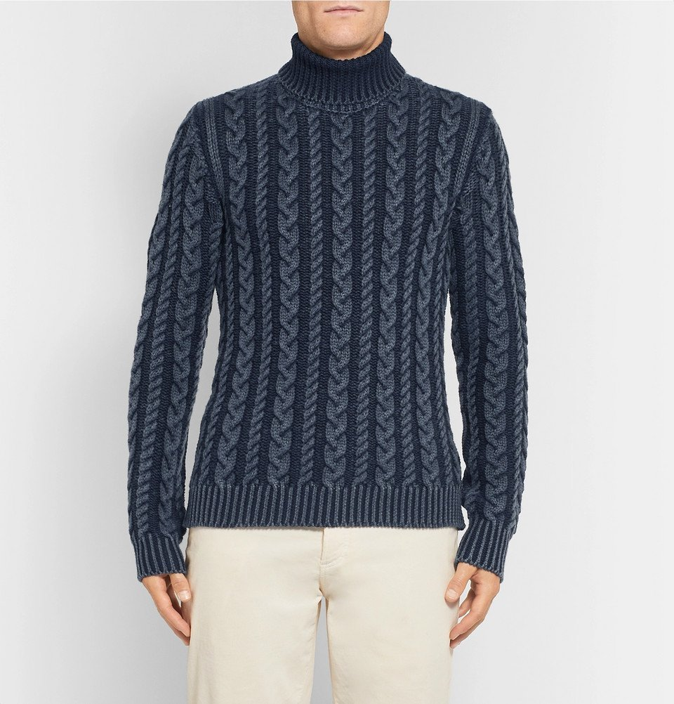 Tod's - Cable-Knit Merino Wool Rollneck Sweater - Men - Navy