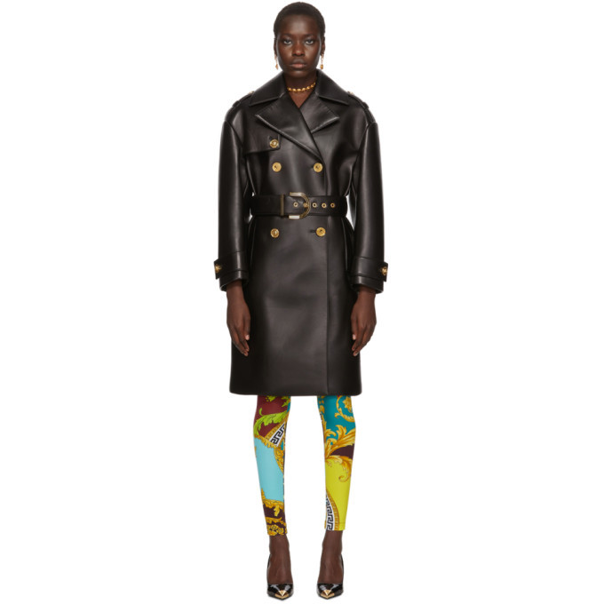 Photo: Versace Black Leather Belted Trench Coat