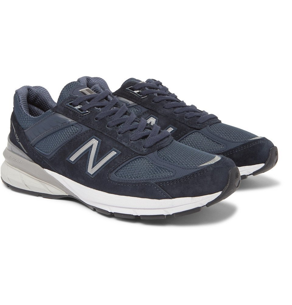 Photo: New Balance - M990V5 Suede and Mesh Sneakers - Navy