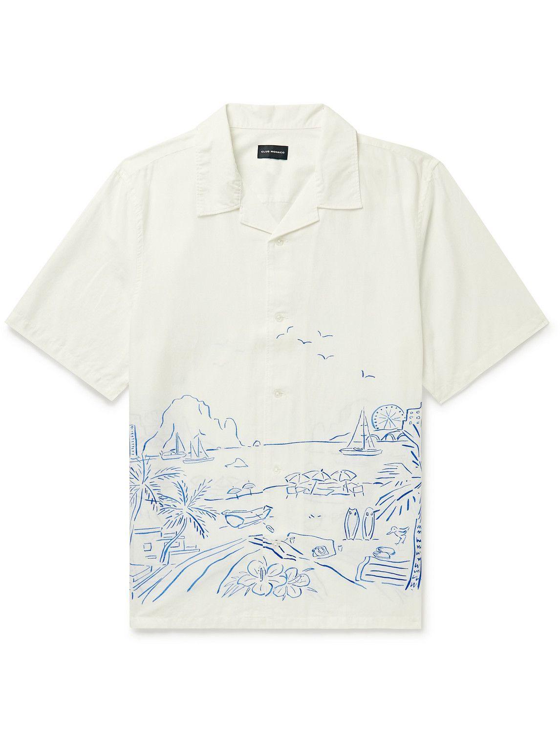 Photo: Club Monaco - Camp-Collar Printed Cotton and Linen-Blend Shirt - White