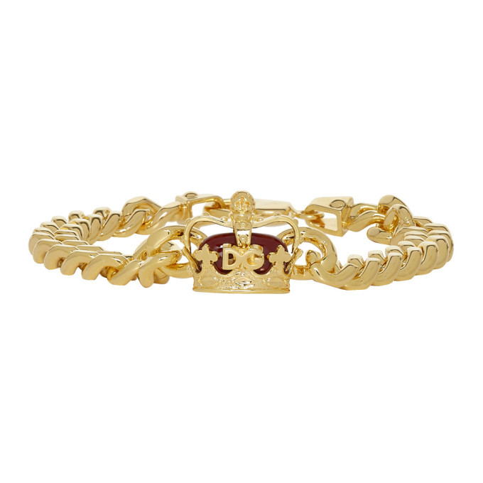 Photo: Dolce and Gabbana Gold Crown Chain Bracelet