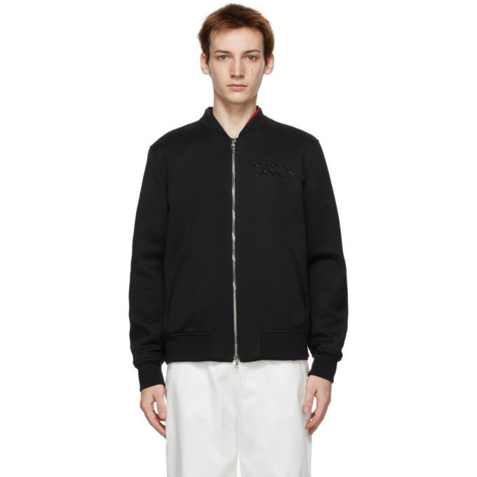 Photo: Alexander McQueen Black Wool Embroidered Logo Bomber Jacket