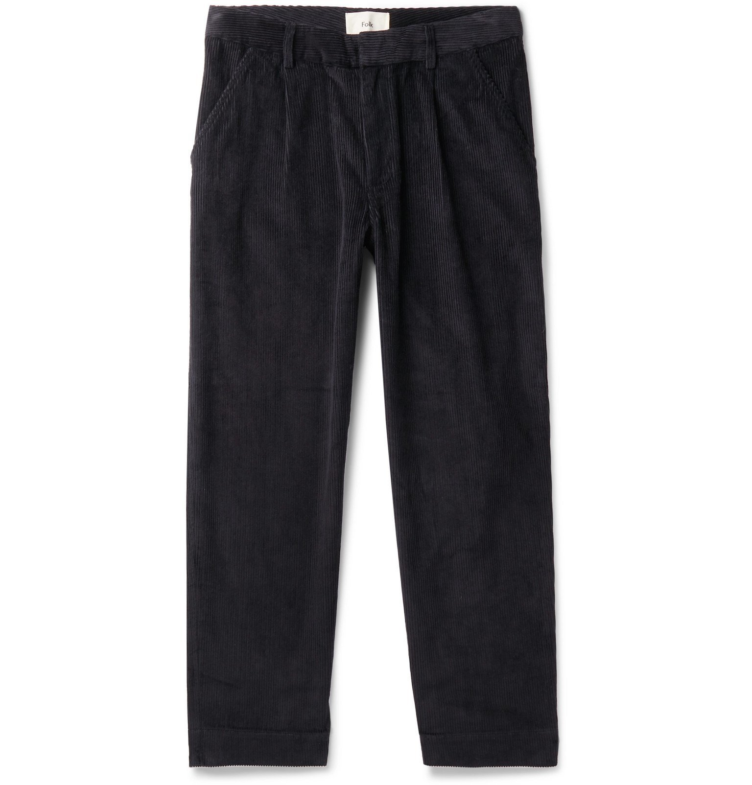Photo: Folk - Signal Tapered Cropped Pleated Cotton-Corduroy Trousers - Black