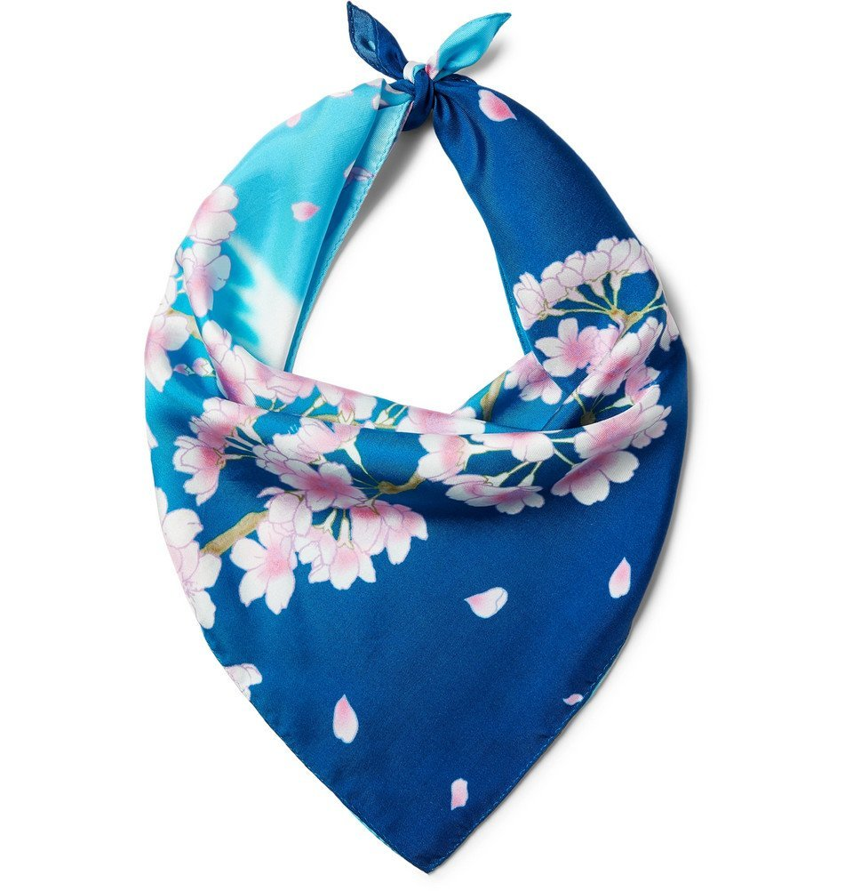Photo: Blue Blue Japan - Printed Silk-Twill Bandana - Blue