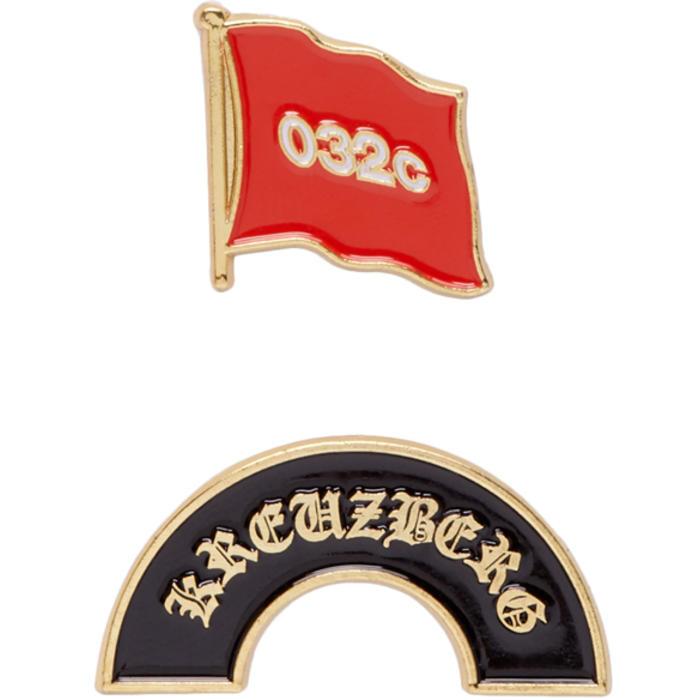 032c Set of Two Gold Enamel Pins