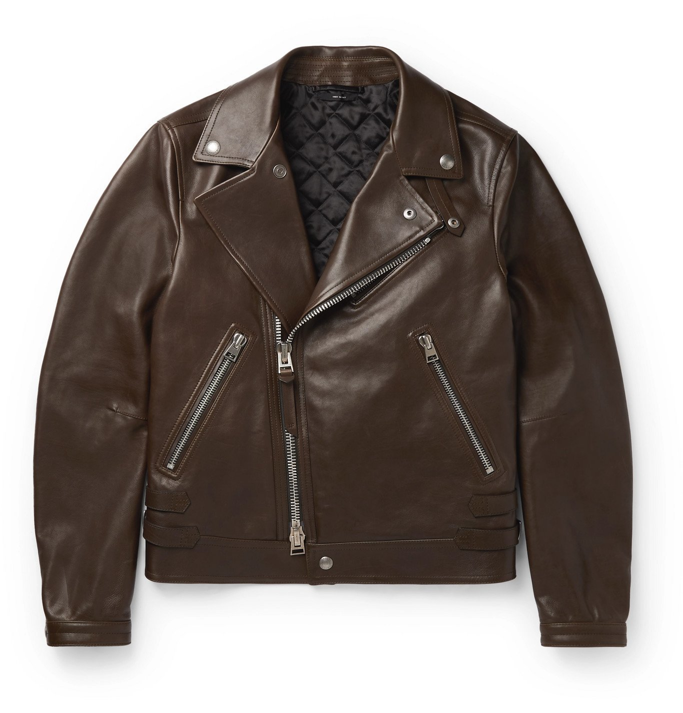 Photo: TOM FORD - Slim-Fit Leather Jacket - Brown