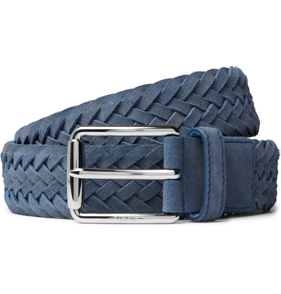 Tod's - 3.5cm Blue Woven Suede Belt - Men - Blue