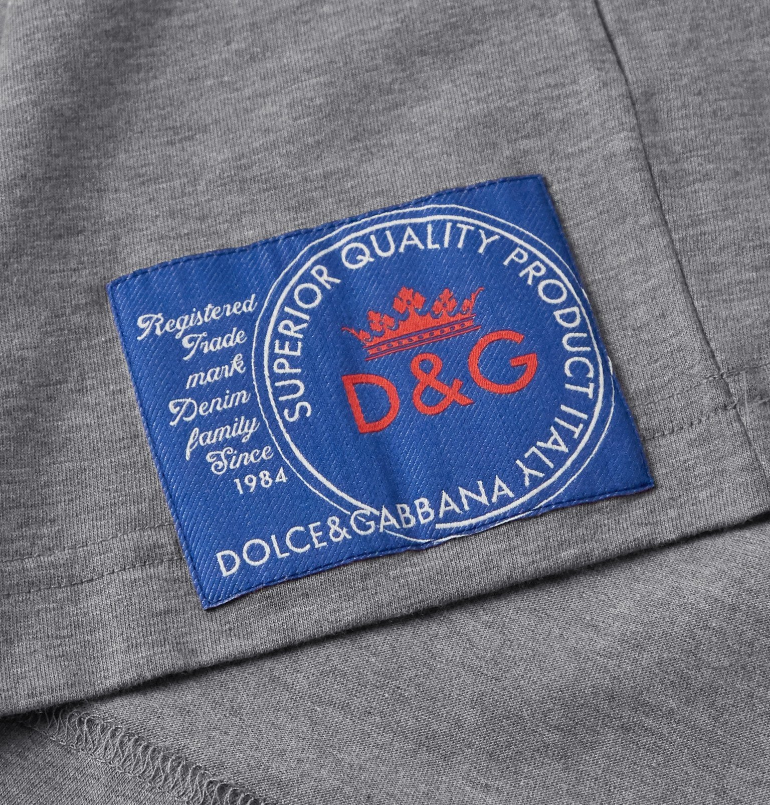 Dolce & Gabbana - Slim-Fit Logo-Appliquéd Cotton-Jersey T-Shirt - Gray