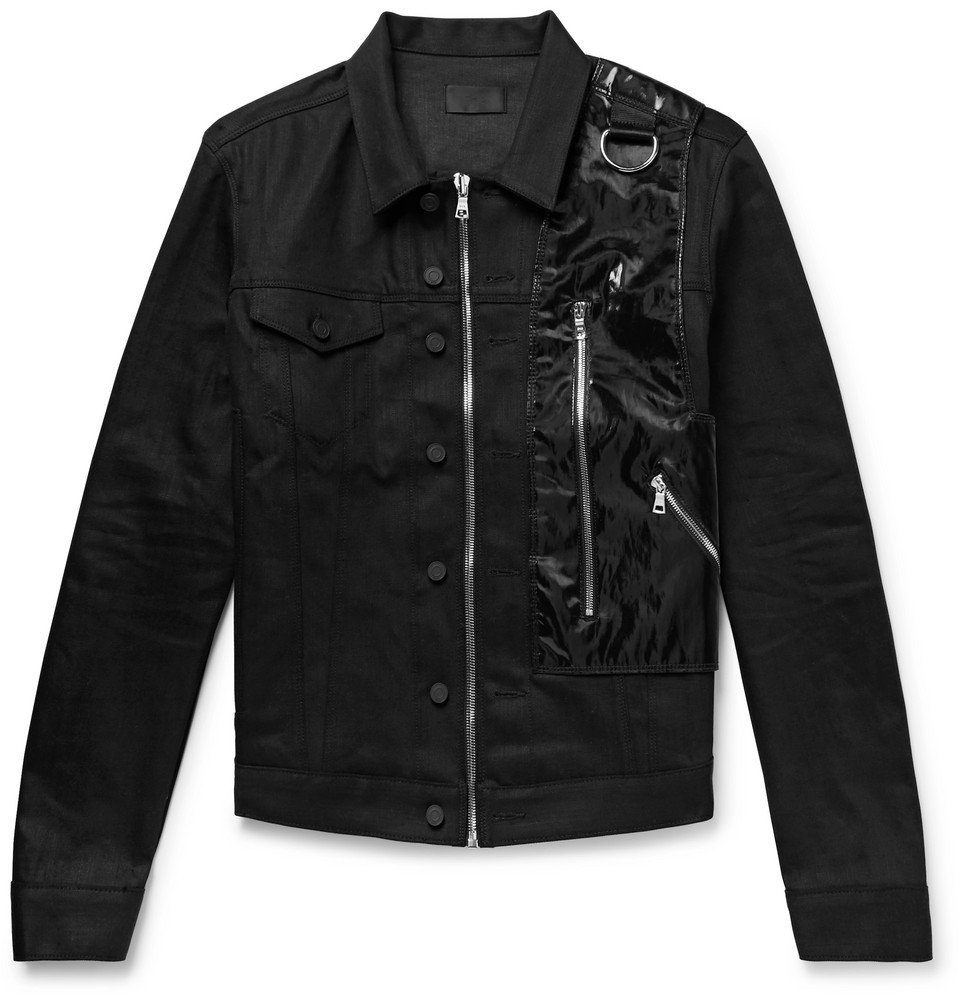 Photo: RtA - 137 Shell and Webbing-Trimmed Stretch-Denim Jacket - Black