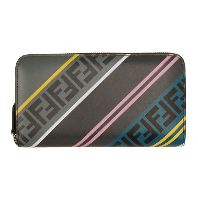 Photo: Fendi Grey Forever Fendi Zip Around Wallet