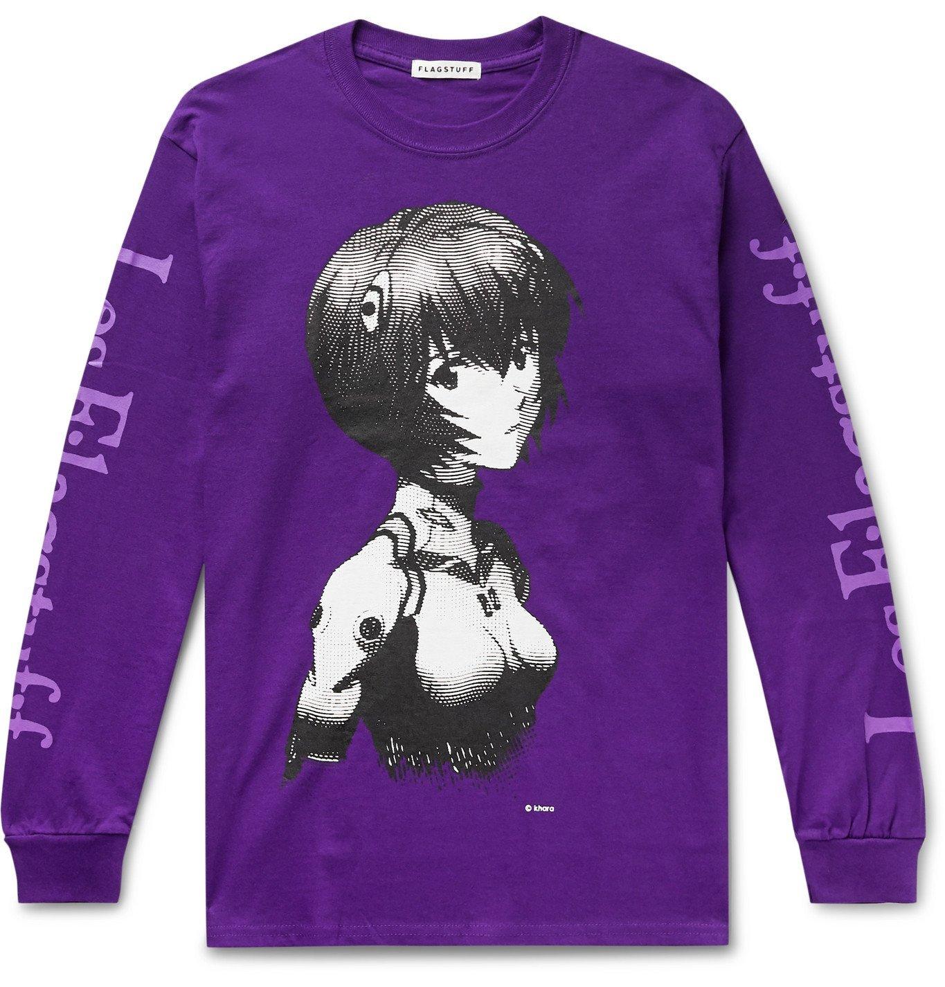 Photo: Flagstuff - Evangelion Printed Cotton-Jersey T-Shirt - Purple