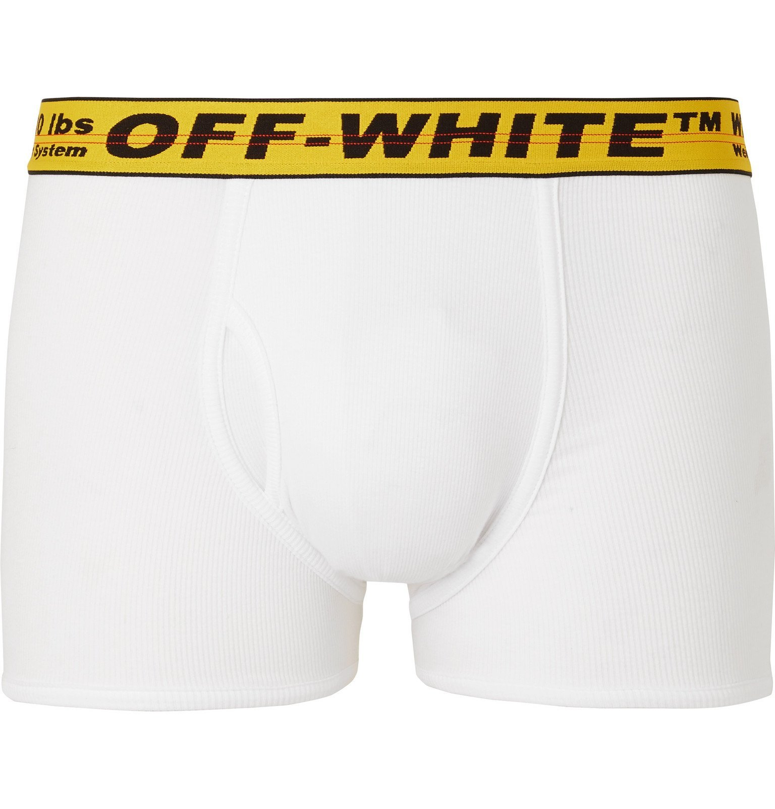 Photo: Off-White - Ribbed Stretch-Cotton Boxer Briefs - White