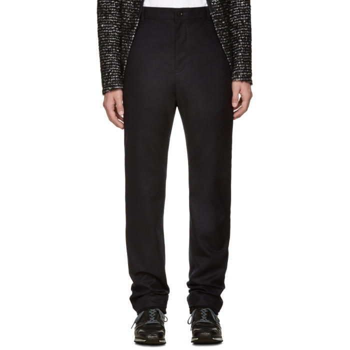 Sacai Navy Wool Ribbed Cuff Trousers