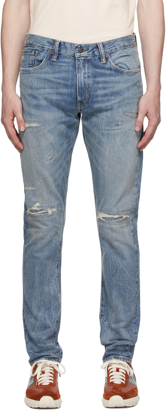Photo: RRL Blue Slim Narrow Fit Hand-Repaired Jeans