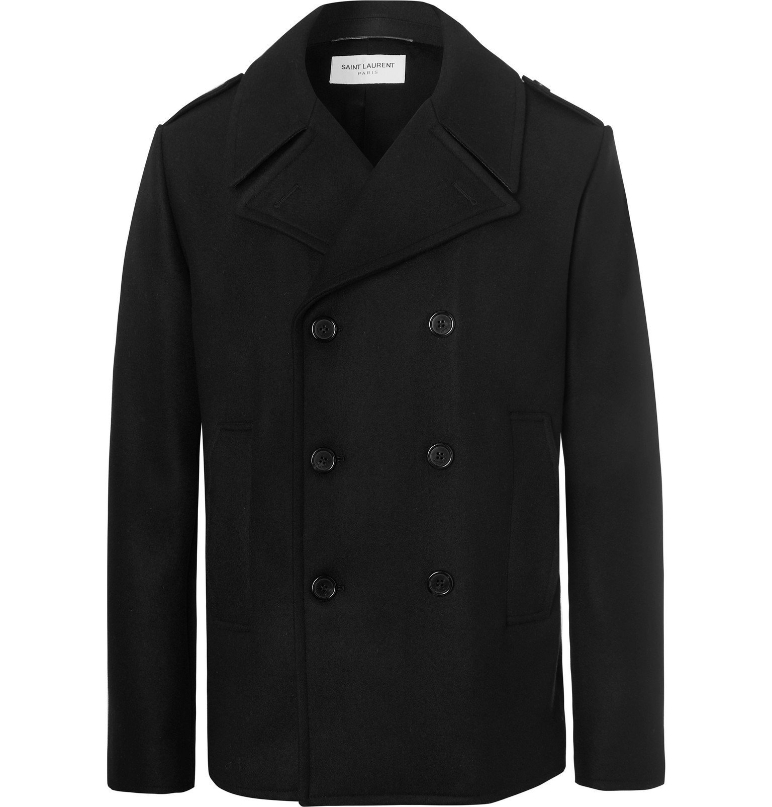 Photo: SAINT LAURENT - Leather-Trimmed Double-Breasted Virgin Wool Peacoat - Black