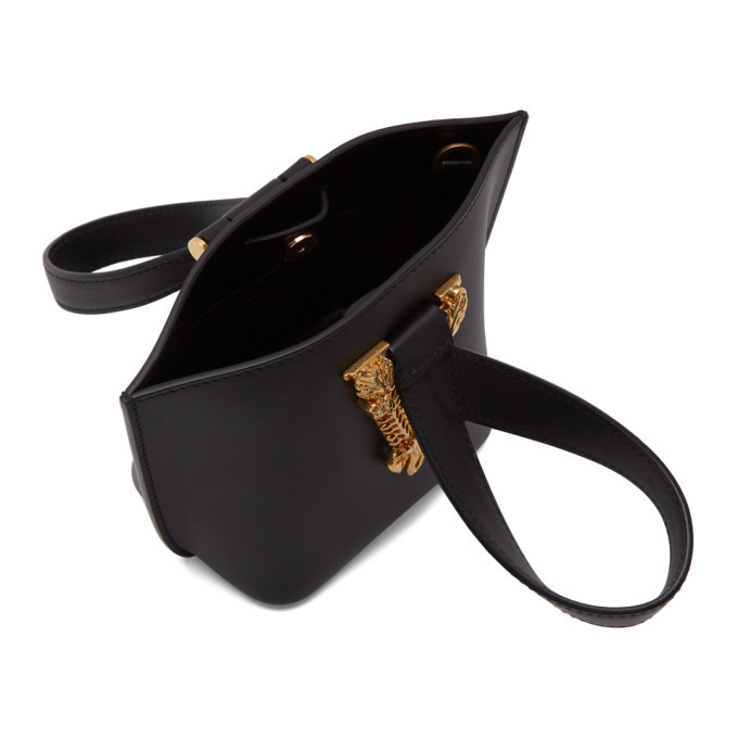 Versace Black Mini Virtus Bucket Bag