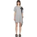 Sacai Grey Asymmetric Lace-Up Dress