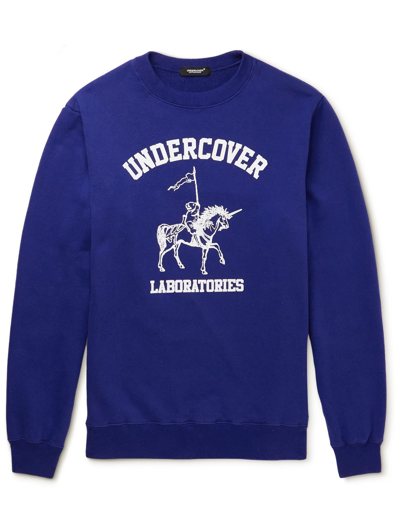 Photo: UNDERCOVER MADSTORE - Logo-Print Cotton-Jersey T-Shirt - Blue