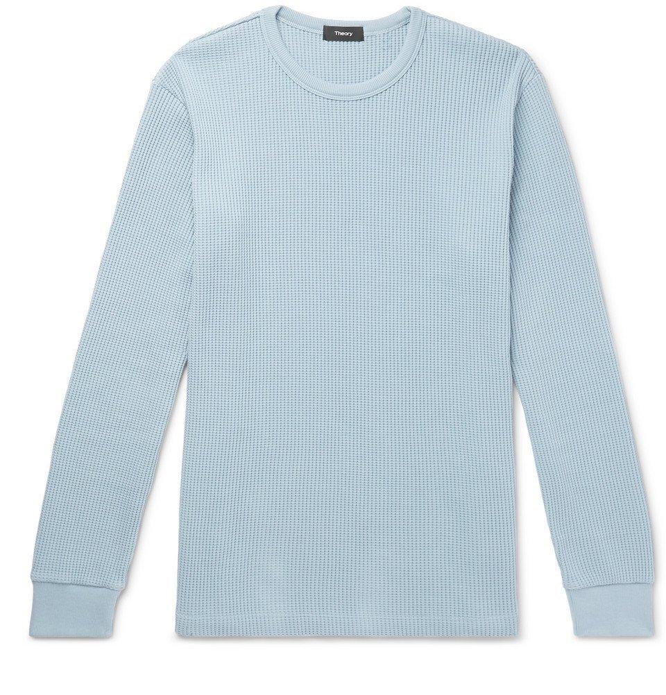 Photo: Theory - Waffle-Knit Pima Cotton Sweatshirt - Blue