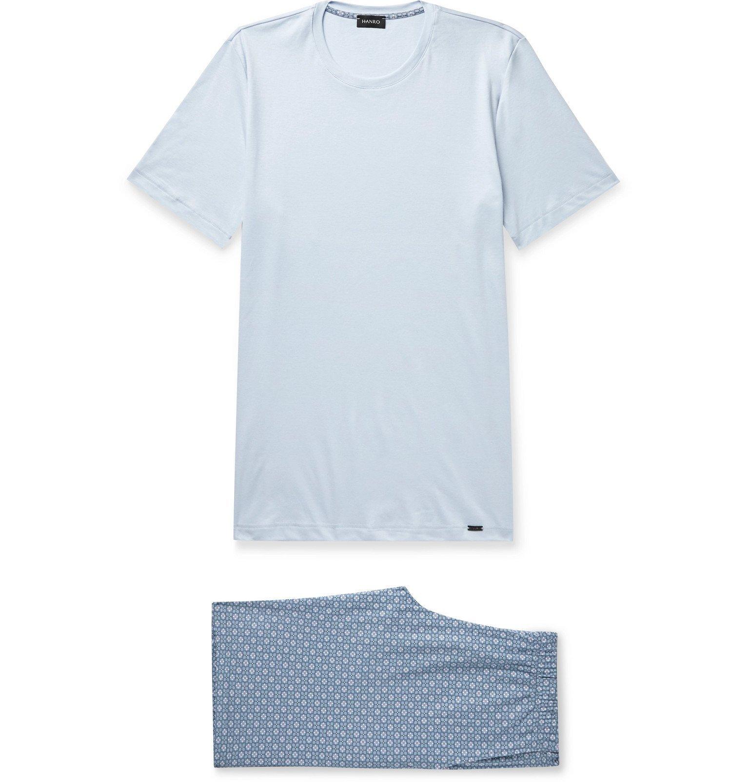 Hanro - Cotton-Jersey Pyjama Set - Blue