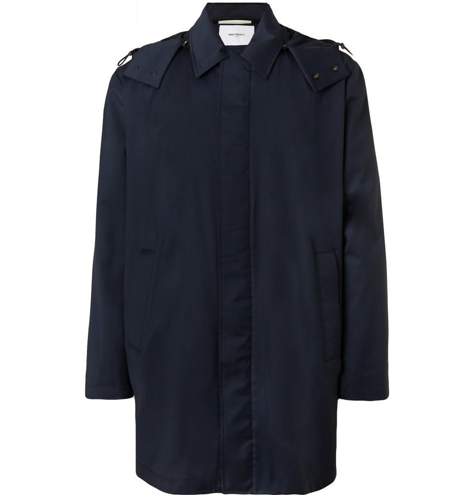 Photo: Norse Projects - Trondheim Storm System Wool Hooded Coat - Navy