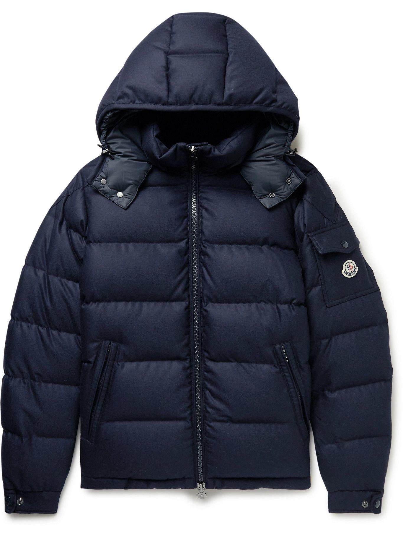 Photo: Moncler - Montgenevre Quilted Virgin Wool-Flannel Down Hooded Jacket - Blue