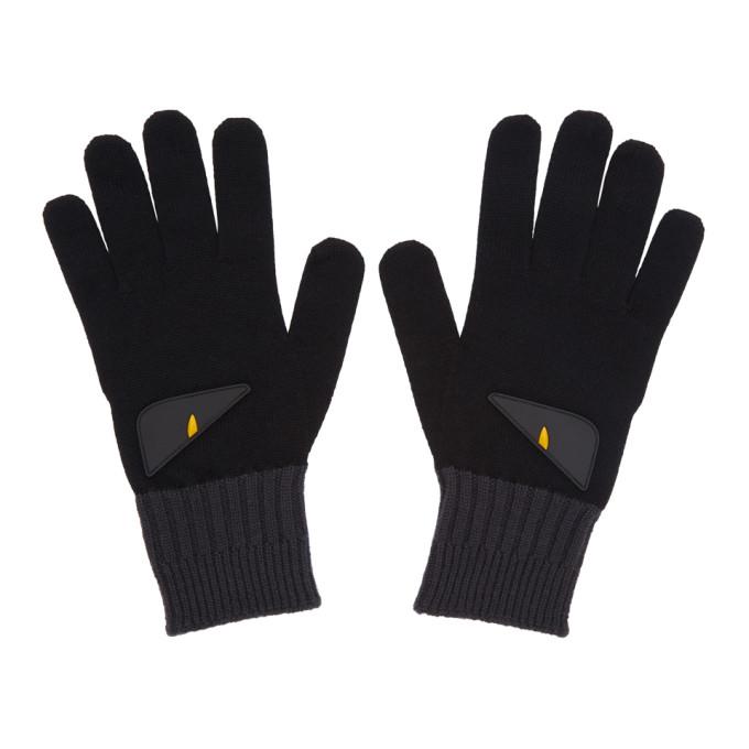 Photo: Fendi Black and Grey Bag Bugs Gloves