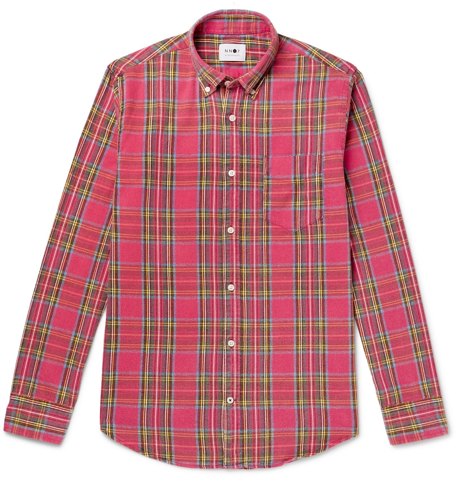 Photo: NN07 - Button-Down Collar Checked Brushed Cotton-Flannel Shirt - Red