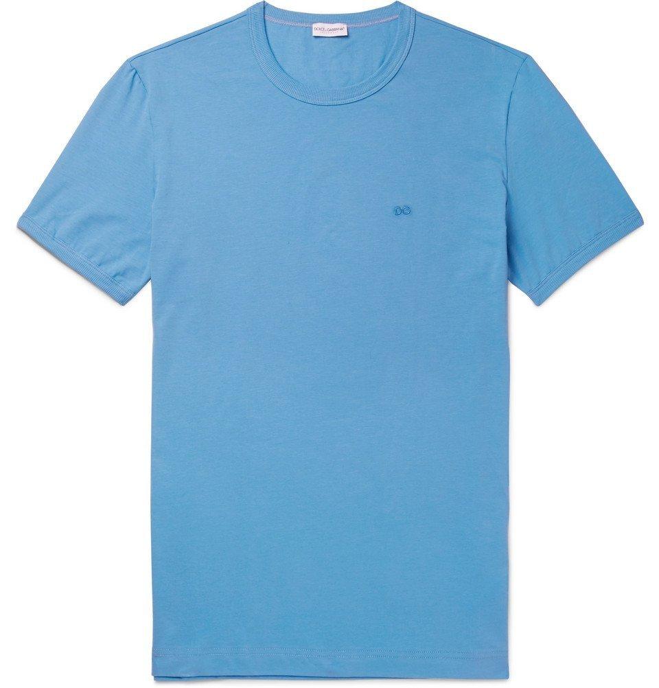Photo: Dolce & Gabbana - Pima Stretch-Cotton Jersey T-Shirt - Men - Blue