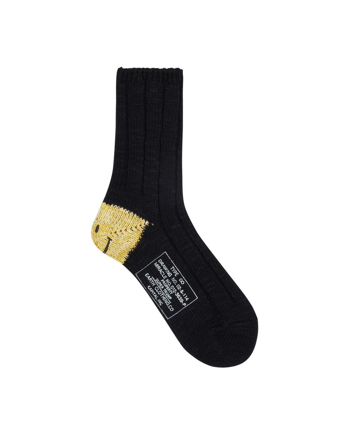 Photo: Kapital 56 Yarns Ma 1 Heel Smilie Socks Black