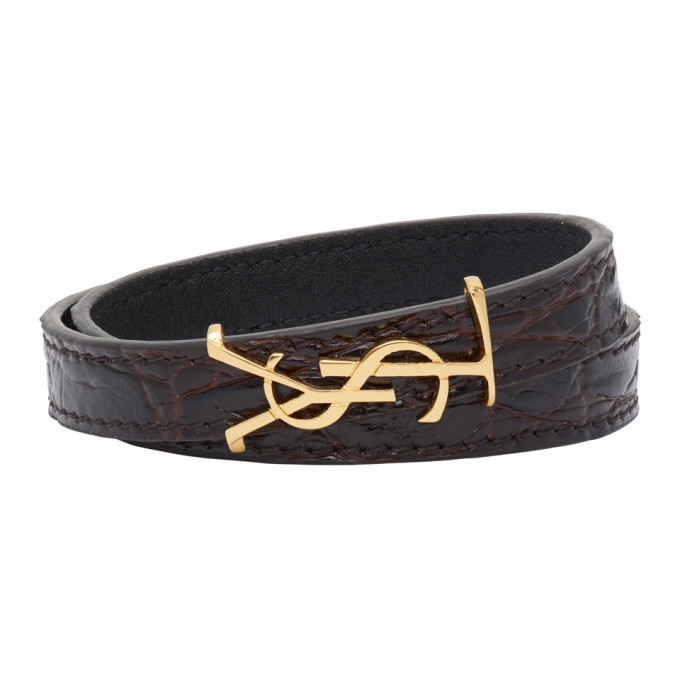 Photo: Saint Laurent Black Croc Opyum Double Wrap Bracelet