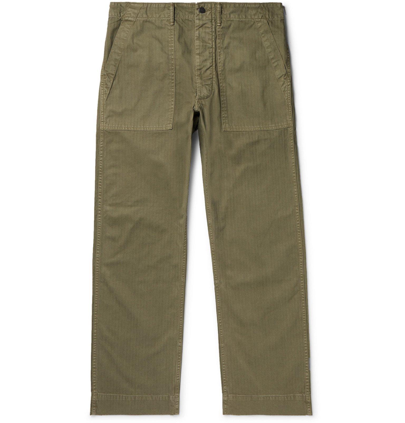 RRL - Cotton-Herringbone Trousers - Green