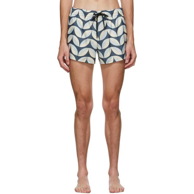 Photo: COMMAS Blue and Beige Pavilion Tile Short Length Swim Shorts