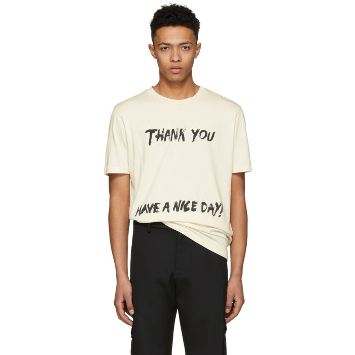 3.1 Phillip Lim Off-White Thank You Have A Nice Day Perfect T-Shirt