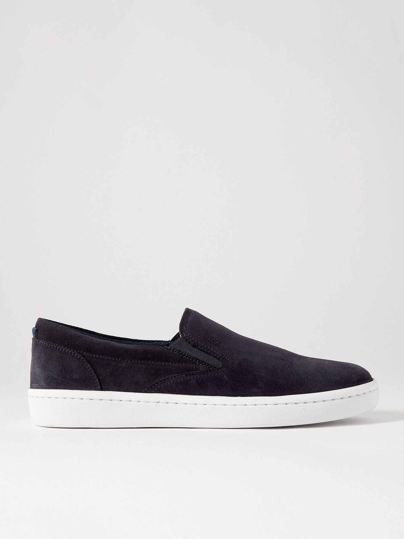HUGO BOSS - Ribeira Suede Slip-On Sneakers - Blue