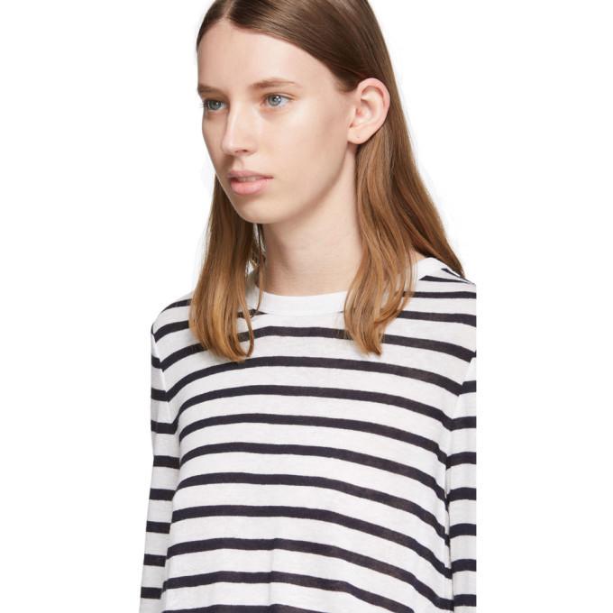 alexanderwang.t White and Navy Striped Slub Long Sleeve T-Shirt