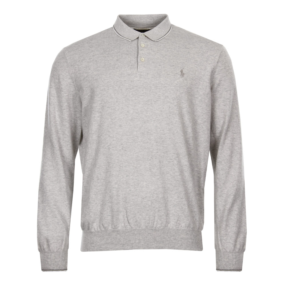 Photo: Polo Shirt - Long Sleeved Heather Grey