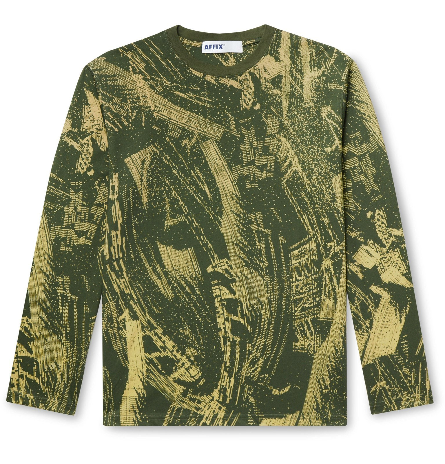 Photo: AFFIX - Printed Cotton-Jersey T-Shirt - Green
