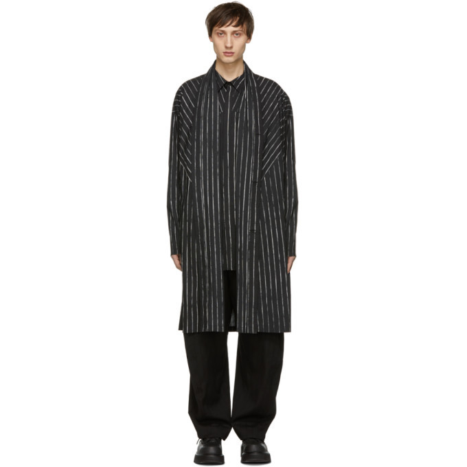 Photo: Julius Black Striped Draping Overshirt