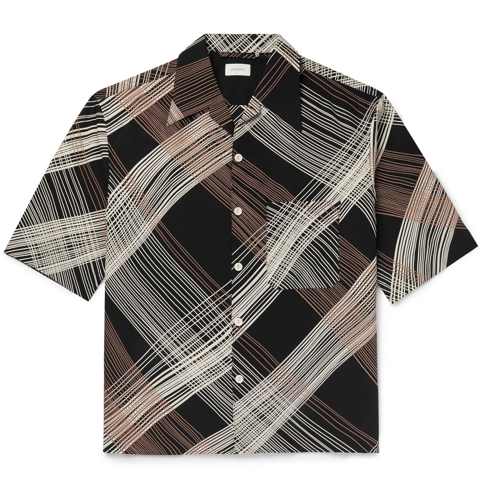 Photo: Lemaire - Camp-Collar Printed Cotton-Blend Shirt - Black