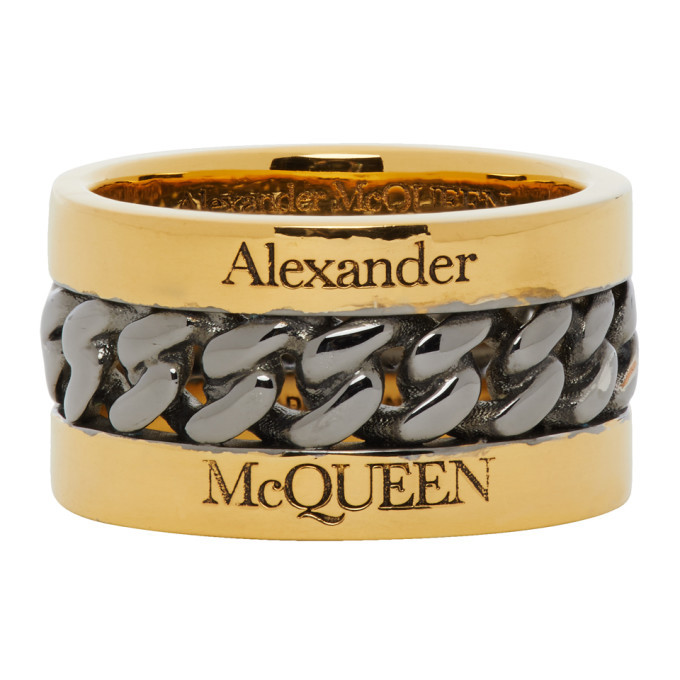 Photo: Alexander McQueen Gold and Gunmetal Inserted Chain Ring