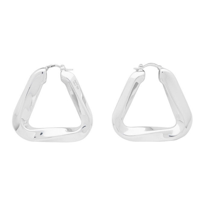 Bottega Veneta Silver Triangle Earrings
