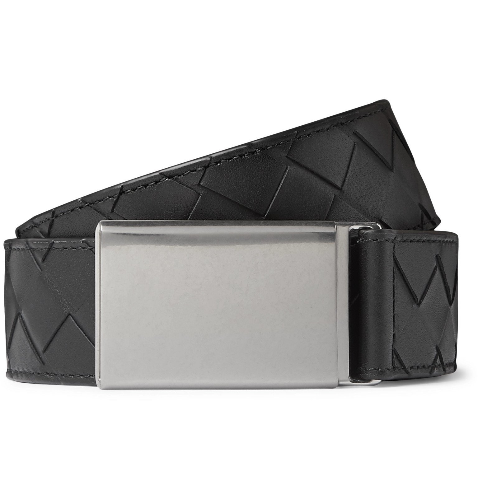 Photo: Bottega Veneta - 3.5cm Black Intrecciato Leather Belt - Black
