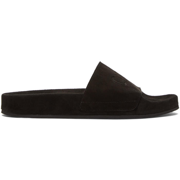 Photo: CMMN SWDN Black Suede Pool Slides